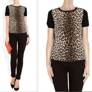 MAJE - Crepe Silk Leopard wool blouse, Small